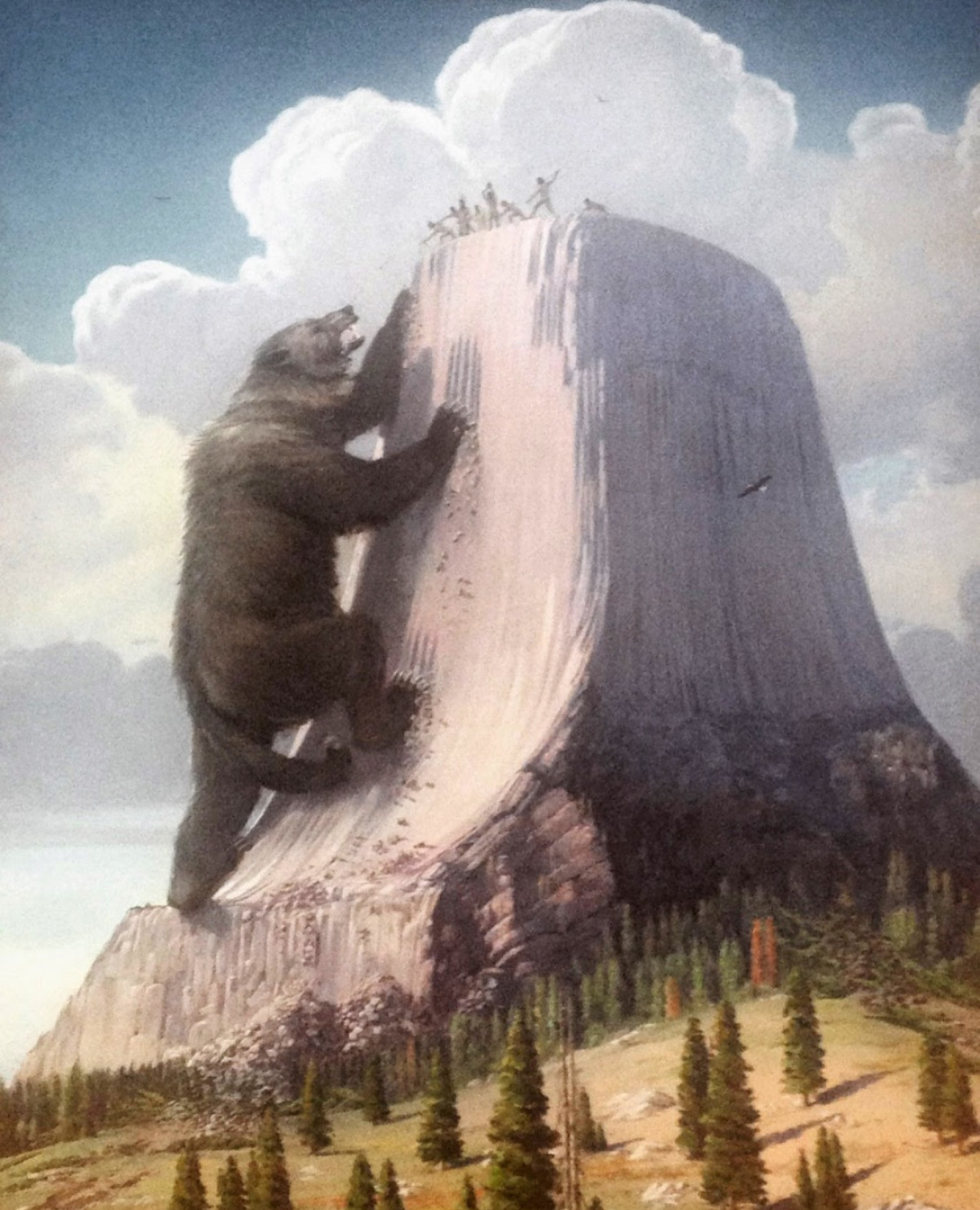 A painting of a gigantic bear climbing the side of a tall rocky tower.