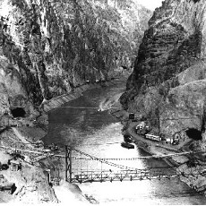 Early construction of Hoover Dam in Black Canyon, Hoover Dam Collection (Bureau of Reclamation)