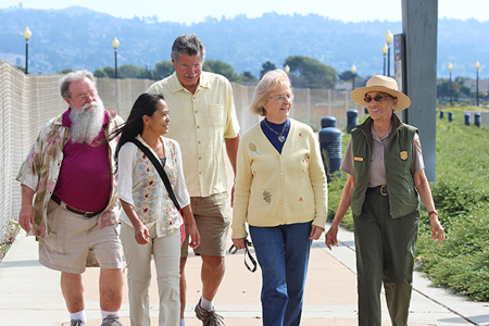 Betty Reid Soskin giving a group of park visitors a tour.