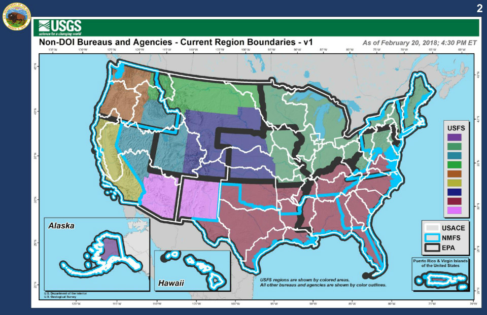 Unified Regional Boundaries | U.S. Department of the Interior on 4 major in the us region map, 4 divisions of us map, usa regions map,