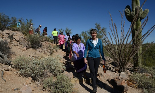 Secretary Jewell walks with Native American students through Saguaro National Park