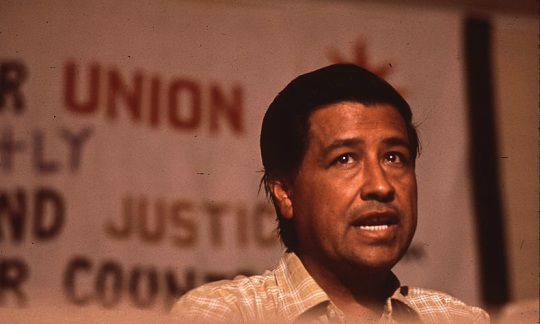 Photo of Cesar Chavez taken when he was speaking at a union rally.