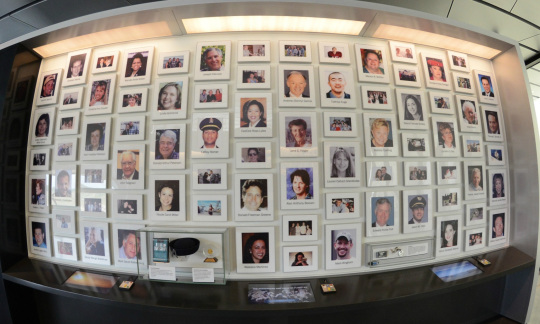 A Wall of Faces in the Flight 93 National Memorial Visitor Center displays pictures of the 40 passengers and crew of Flight 93.