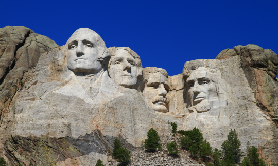 The four presidents sculpture at Mount Rushmore National Memorial in South Dakota