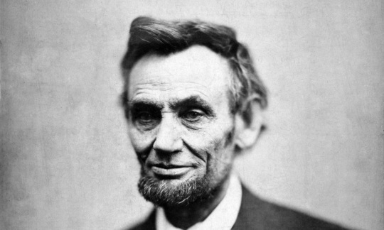 Historic black and white photo of Abraham Lincoln.