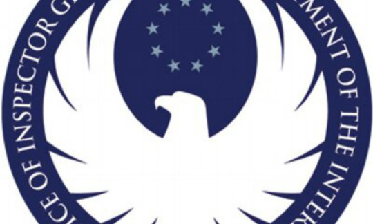 The seal of Interior's Office of Inspector General is a blue circle with an eagle inside it.