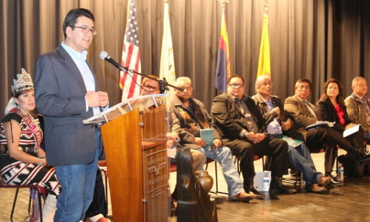 Michael L. Connor addresses members of the Navajo Nation.