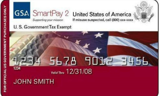Image of a federal credit card showing a row of numbers and an american flag.