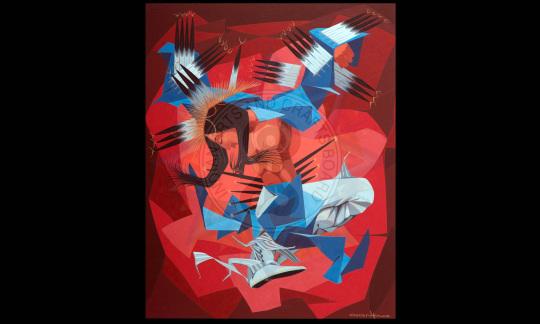 """Dakota Eagle Dancer,"" by Oscar Howe (Yanktonai Sioux)"