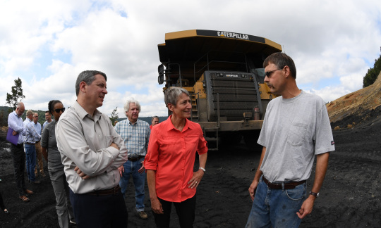 Secretary Jewell (center) and Mark Kwisnek (right) meet in Ehrenfeld, P.A.