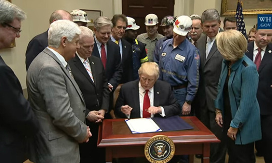 President Trump signs a joint resolution of disapproval under the Congressional Review Act, eliminating the Stream Protection Rule.