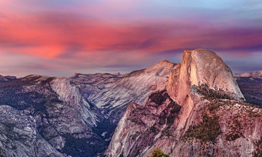 Half Dome with a pink sunset