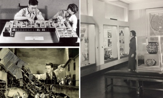 Historic black and white photographs of the Interior Museum gallery and diorama.