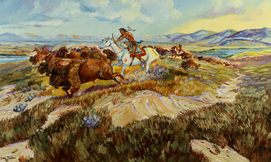 """""""Blackfeet Buffalo Hunt,"""" Dan Taulbee, Comanche, IACB Collection"""