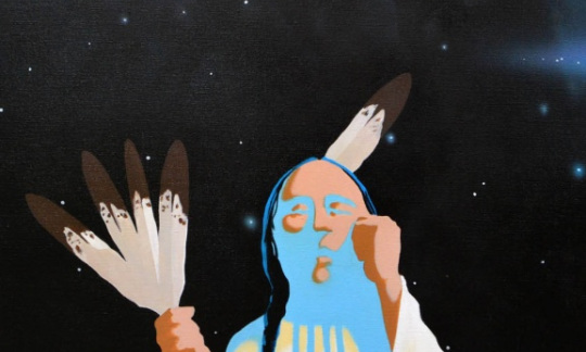 """""""He Makes Me Dance with Arrows, He Calls the Bow My Father,"""" Sherman Chaddlesone, Kiowa, IACB Collection"""