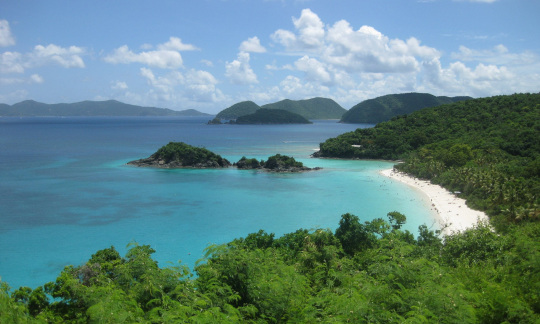 The blue water and white sand beach of Trunk Bay at Virgin Islands National Park on St. John is surrounded by green trees.
