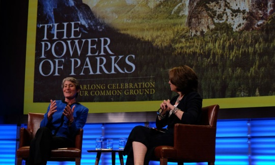 Secretary Jewell speaks with Susan Goldberg at the National Geographic Society