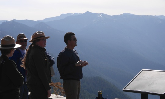 Deputy Secretary Michael Connor at Hurricane Ridge with representatives from Olympic National Park, USGS, and Lower Elwha Klallam Tribe.