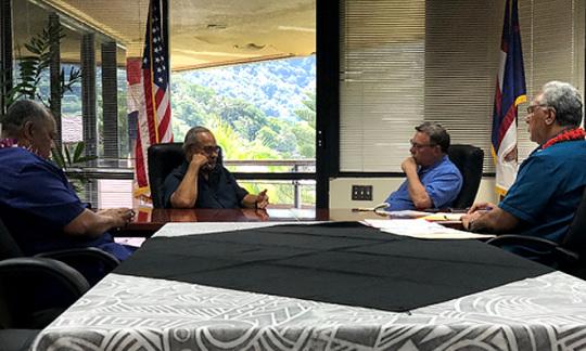 (pictured left to right) American Samoa Lt. Governor Lemanu Mauga, American Samoa Governor Lolo Moliga, Interior Assistant Secretary Doug Domenech, Office of Insular Affairs Director Nik Pula