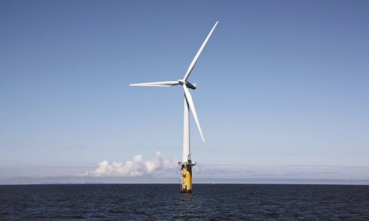 An offshore floating wind farm.