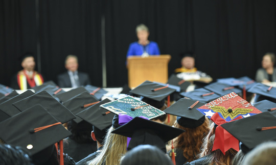 Secretary Jewell speaks to students graduating from Fond du Lac Tribal and Community College.
