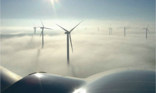Wind turbines glimmering in the sun and rising out of a sea of fog
