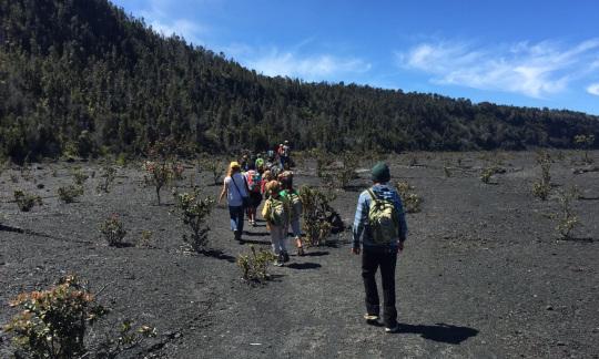Keiki hike Kīlauea Iki in Hawai'i Volcanoes National Park (NPS Photo)