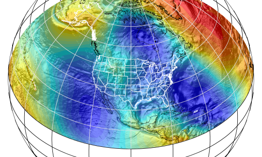 Graphic of a digital representation of the Earth focusing on North America