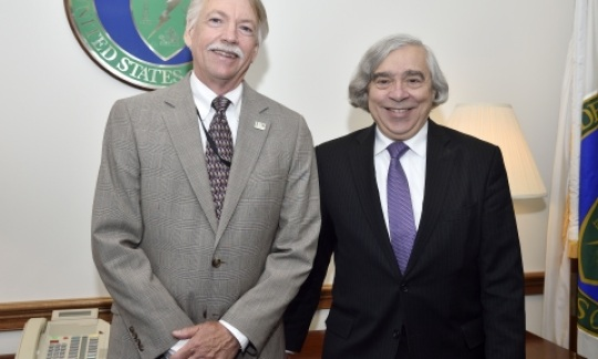 National Park Service Director Jonathan Jarvis stands with U.S. Secretary of Energy Ernest Moniz