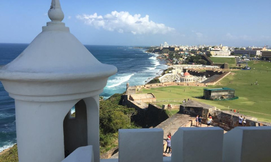A view of the ocean and the city from San Juan National Historic Site in Puerto Rico.