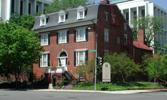 The Sewall-Belmont House is a three story brick building in Washington, D.C.