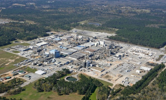 aerial view of Ciba-Geigy McIntosh Plant site, near McIntosh, Washington County, Alabama