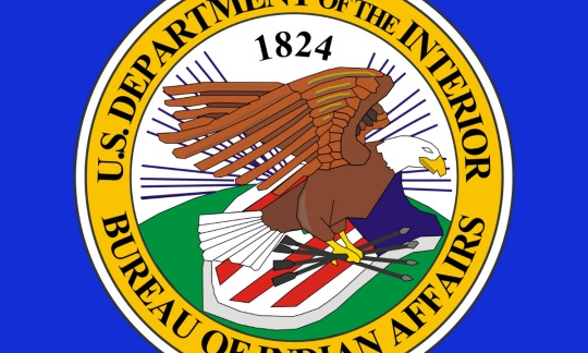 The Bureau of Indian Affairs seal is gold circle containing a drawing of an eagle flying over a red, white and blue shield.