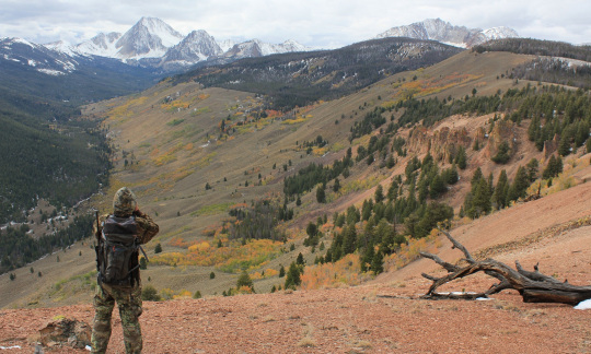 A man in camouflage hunting gear stands on a ridge looking out towards a gorgeous valley of grass and trees with snow capped mountains in the distance.