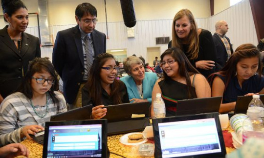 Secretary Jewell meets with Native youth as they use their new tablets.