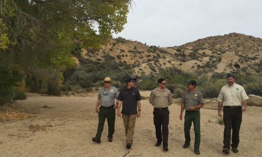 Deputy Secretary Connor and four employees from the National Park Service and Bureau of Land Management walk along a dirt path by a tree with desert hills behind them.
