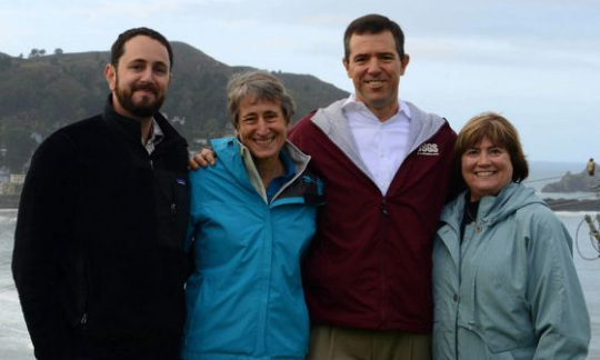 Secretary Jewell stands with USGS Director Suzette Kimball (far right), USGS geologist Patrick Barnard and USGS Western States Chief of Communications Justin Pressfield (far left)