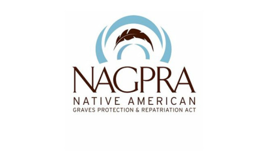 The logo for NAGPRA says Native American Graves Protection and Repatriation Act