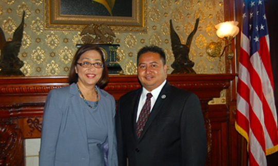 U.S. Special Representative Esther Kia'aina and Commonwealth of the Northern Mariana Islands (CNMI) Special Representative Ralph DLG Torres at the White House Eisenhower Executive Office Building, Washington, D.C., at the first 902 Consultations meeting, June 6, 2016.