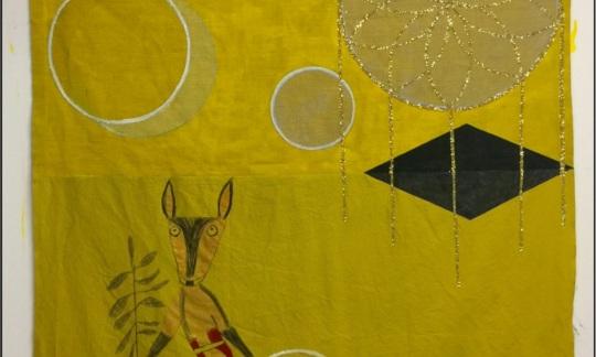 """Deer Dreamer (Black Hawk),"" Acrylic paint and mixed media on canvas © 2018 Andrea Lekberg"