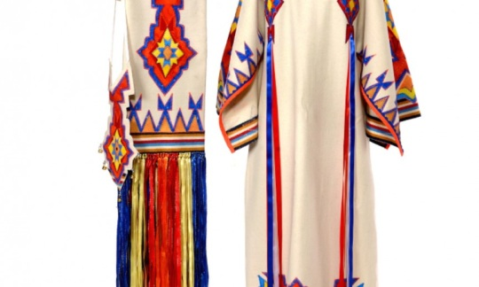 """""""Southern Cloth Dress, Shawl and Purse Front View (Broadcloth, cotton, and satin),"""" Custom made for Ava Jo Boton © 2018 Phyllis Whitecloud (Kiowa)"""