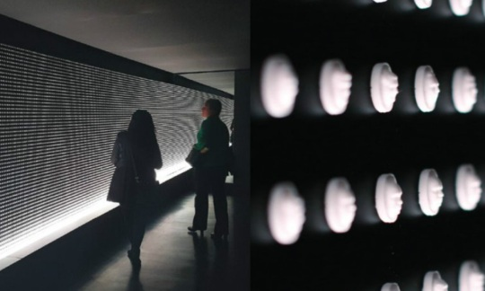 There are two photos. The picture on the left shows two people standing in front of the art exhibit which is a black wall covered in white pills. The picture on the right is a close up of white pills on a black wall.
