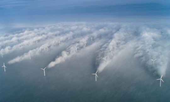 Wind turbines create wakes offshore.