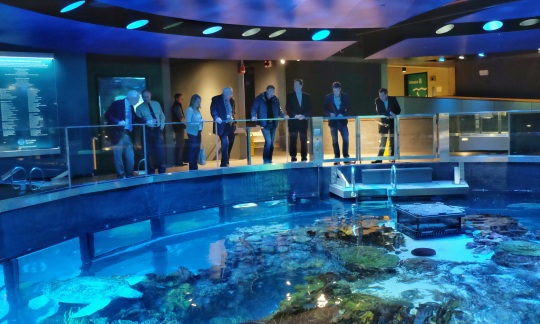 Secretary Zinke stands at a railing with a small group of people looking down at a pool of water in an indoor aquarium.