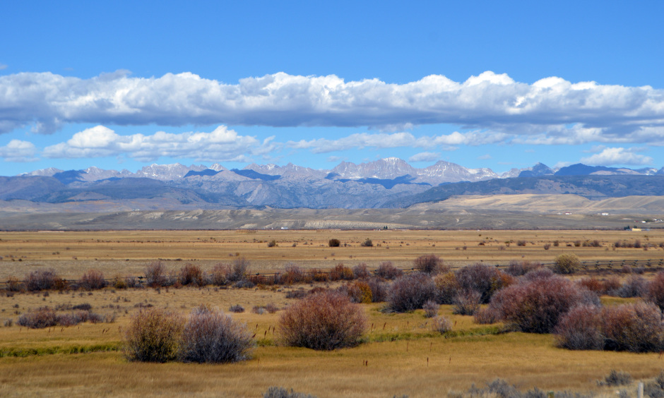Mountains frame the sagebrush sea, habitat of the greater sage-grouse