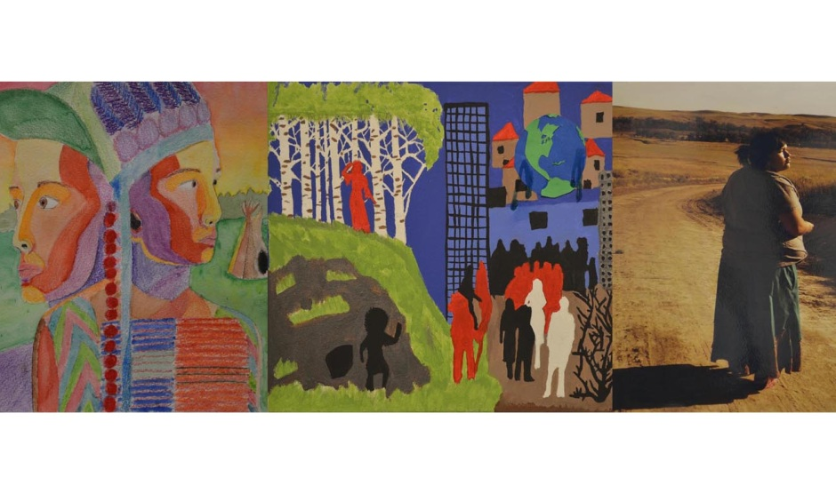 """2016 Art Contest Winners (L-R), 1st Place: """"A Bright Recognition,"""" Shawna Lessert, Oglala Sioux Tribe; 2nd Place: """"Changing Disaster,"""" J. Janis, Bay Mills Indian Community; 3rd Place: """"Lakota Woman,"""" Breanna Good Shield, Rosebud Sioux Tribe."""""""