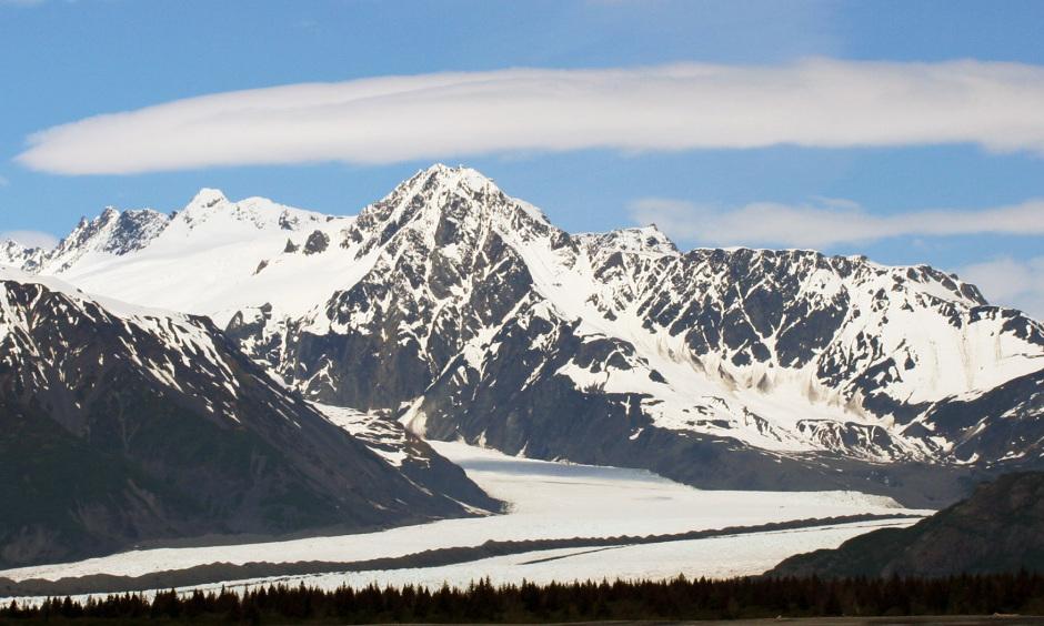 Scenic view of Alaskan mountain rage and glacier.