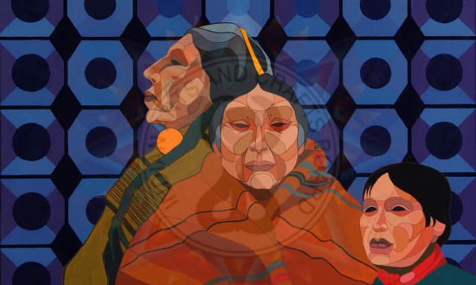 """Statehood Indians"" by Benjamin Harjo Jr., Seminole/Shawnee"