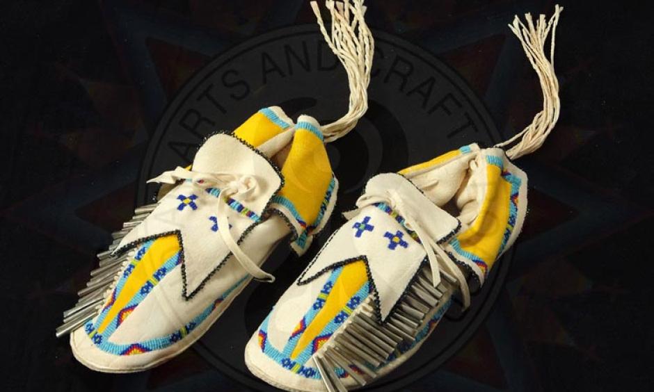 """Kiowa Man Moccasins"" by Vanessa Paukeigope Jennings, Kiowa/Gila River Pima"