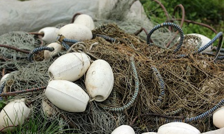A seine fishing net is ready for use.